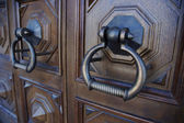 Massive old door-handle in the church — Stock Photo