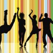 Silhouettes of dancing - Stock Photo
