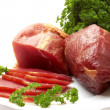 Greens and meat — Stock Photo