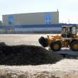 Wide asphalt laying - Foto Stock