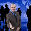 Happy manager and group(made from my images) — Stock Photo #15816723
