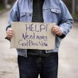 Stock Photo: Hobo with cardboard