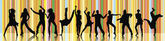Silhouettes of dancing — Stock Photo