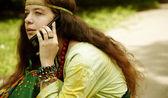 Hippie na telefonu — Stock fotografie
