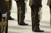 Military music brass band(focus on the left soldier) — Stock Photo