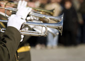 Army brass band on Victory day in Russia — Stock Photo