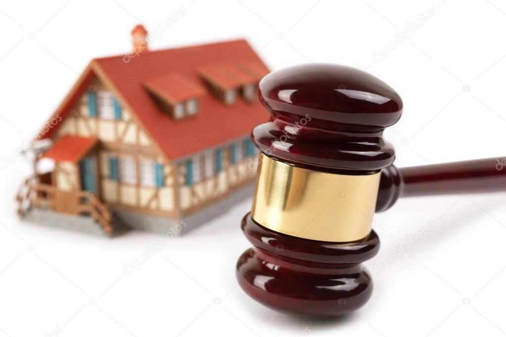 Real estate concept,isolated on white background, selective focus on gavel  Stock Photo #15820095