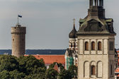 Tall Hermann Tower and Churches — Stock Photo