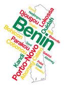 Benin Map and Cities — Stock Vector
