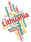 Lithuania map and cities — Stock Vector
