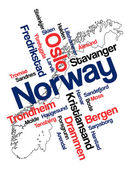 Norway map and cities — Stock Vector