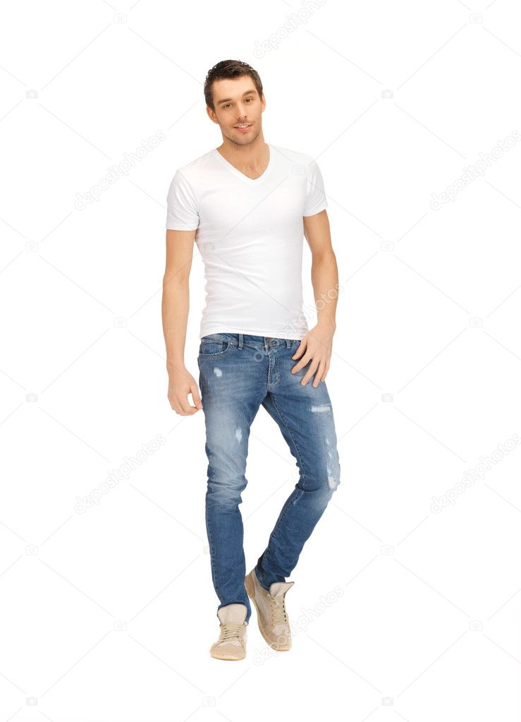 Bright picture of handsome man in white shirt — Stock Photo #12449360