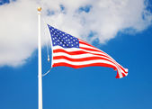 American flag flying in the wind — ストック写真