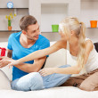 Happy romantic couple with gift — Stock Photo #12591986