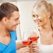 Romantic couple drinking wine — Stock Photo #12592165