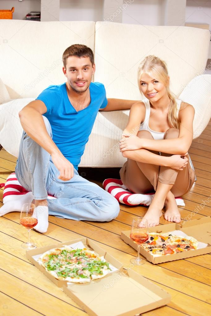 Bright picture of happy romantic couple having dinner — Stock Photo #12619932