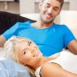 Happy couple at home — Foto de Stock