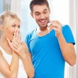 Happy couple with keys — Stock Photo #12680440