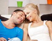 Happy couple at home — Stock Photo