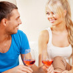 Romantic couple drinking wine — Stock Photo