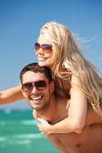 šťastný pár brýle na pláži — Stock fotografie