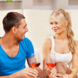 Romantic couple drinking wine — Stock Photo #13181018