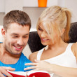 Stock Photo: Happy couple at home