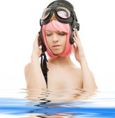 Pink hair girl in aviator helmet — Stock Photo
