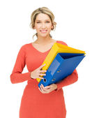 Happy woman with folder — Stock Photo