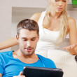 Couple with tablet PC — Stock Photo #13312950