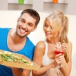 Romantic couple having dinner — Stock Photo
