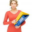 Stock Photo: Womwith folder