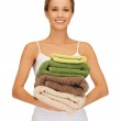 Lovely woman with towels — Stock Photo #13886323