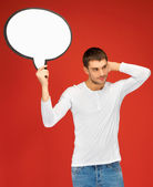 Pensive man with blank text bubble — Stock Photo