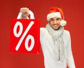クリスマス帽子でハンサムな男 — ストック写真