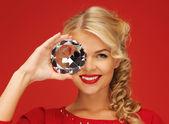 Lovely woman with big diamond — Stock Photo