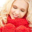 Beautiful woman in mittens — Stock Photo #14130159