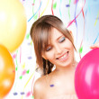 Happy teenage girl with balloons — Stock Photo