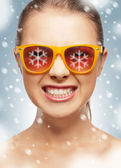 Funny teenage girl in shades — Stock Photo