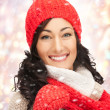 Royalty-Free Stock Photo: Beautiful woman in hat, muffler and mittens