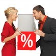Man and woman with percent sign — Stock Photo #14292561