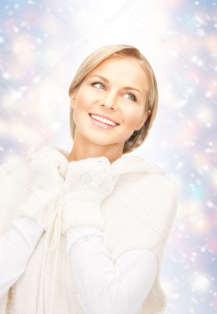 Picture of beautiful woman in white sweater  Stock Photo #14417349
