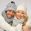 Family couple in a winter clothes — Stock fotografie