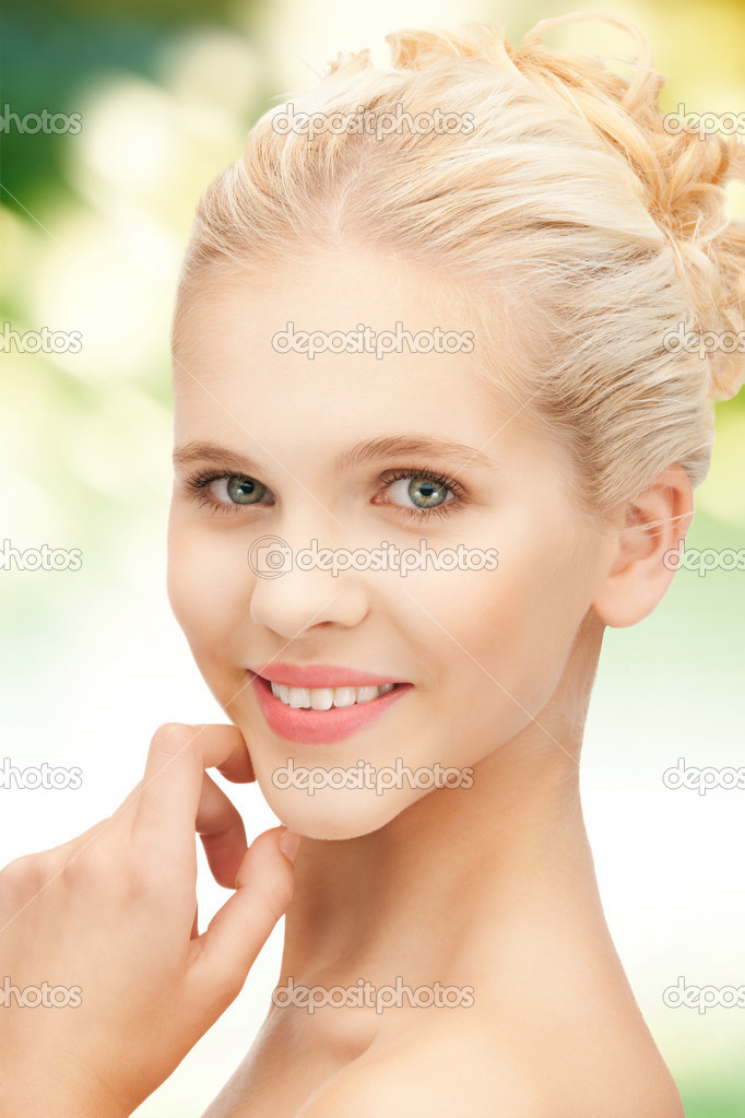 Bright closeup portrait picture of beautiful woman  Stock Photo #14541929