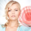 Woman making stop gesture — Stock Photo #14877631