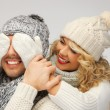 Family couple in a winter clothes - Foto Stock