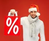 Hombre guapo en sombrero de la navidad — Foto de Stock