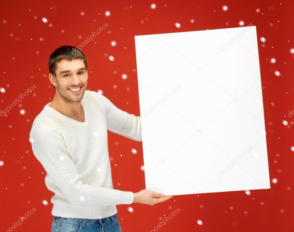 Bright picture of handsome man with big blank board.  Stock Photo #14879035