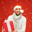 Stock Photo: Handsome min christmas hat