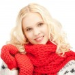 Beautiful woman in mittens — Stock Photo #15311861